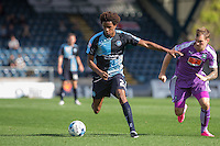 Sido Jombati of Wycombe Wanderers takes on Gregg Wylde of Plymouth Argyle during the Sky Bet League 2 match between Wycombe Wanderers and Plymouth Argyle at Adams Park, High Wycombe, England on 12 September 2015. Photo by Andy Rowland.
