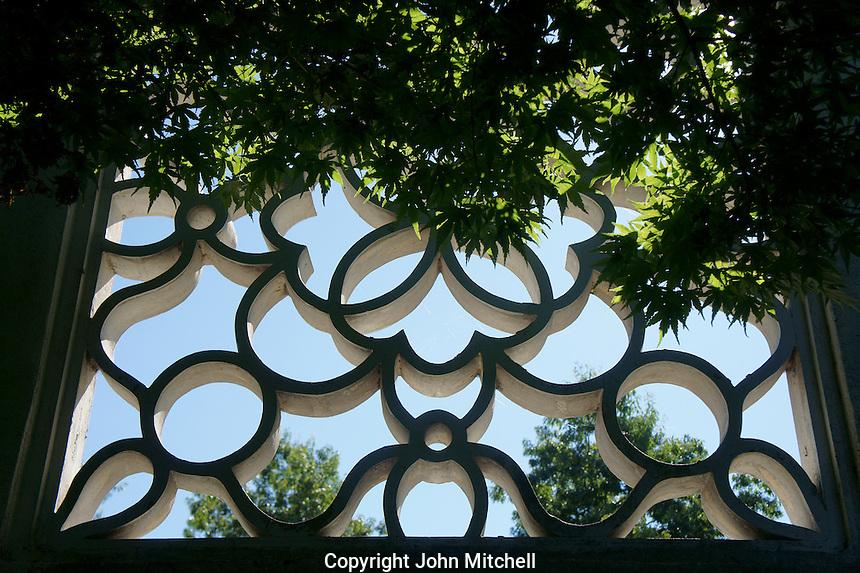 Concrete  lattice window in Dr. Sun Yat-Sen Park, Chinatown, Vancouver, British Columbia, Canada