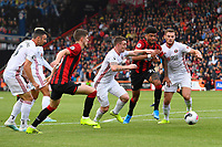 Philip Billing of AFC Bournemouth is blocked by Billy Sharp and Jack O'Connell of Sheffield United during AFC Bournemouth vs Sheffield United, Premier League Football at the Vitality Stadium on 10th August 2019