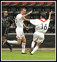 17/8/02               Copyright Pic : James Stewart                     .File Name : stewart-airdrie v stranraer 17.PAUL RONALD (9) CELEBRATES WITH LEE GARDNER (16) AFTER HE SCORED AIRDRIE'S WINNING GOAL....James Stewart Photo Agency, 19 Carronlea Drive, Falkirk. FK2 8DN      Vat Reg No. 607 6932 25.Office : +44 (0)1324 570906     .Mobile : + 44 (0)7721 416997.Fax     :  +44 (0)1324 570906.E-mail : jim@jspa.co.uk.If you require further information then contact Jim Stewart on any of the numbers above.........
