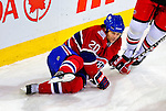21 December 2008: Montreal Canadiens' center Robert Lang from the Czech Republic takes a tumble in the third period against the Carolina Hurricanes at the Bell Centre in Montreal, Quebec, Canada. The Hurricanes defeated the Canadiens 3-2 in overtime. ***** Editorial Sales Only ***** Mandatory Photo Credit: Ed Wolfstein Photo