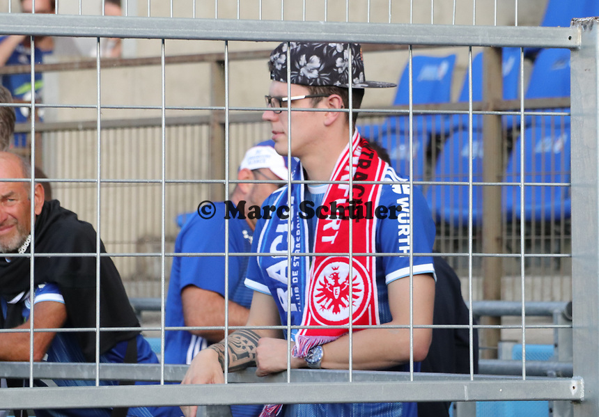 Fans hinter Gittern - 22.08.2019: Racing Straßburg vs. Eintracht Frankfurt, UEFA Europa League, Qualifikation, Commerzbank Arena<br /> DISCLAIMER: DFL regulations prohibit any use of photographs as image sequences and/or quasi-video.