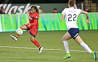 Portland, Oregon - Saturday May 21, 2016: The Portland Thorns Meg Morris (44) and the Washington Spirits Alyssa Kleiner (22) during a regular season NWSL match at Providence Park. The Thorns won 4-1.