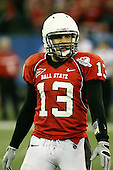 January 5th, 2008:  Ball State quarterback Nate Davis (13) looks to the sidelines to get the play call during the fourth quarter of the International Bowl at the Rogers Centre in Toronto, Ontario Canada...Rutgers defeated Ball State 52-30.  ..Photo By:  Mike Janes Photography