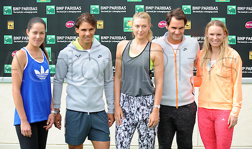 11.03.2015. Indian Wells, California, USA.  Tennis players Ana Ivanovic (SRB), Rafael Nadal (ESP), Maria Sharapova (RUS), Roger Federer (SUI) and Caroline Wozniacki (DEN) stand together for some photographs during media day during the BNP Paribas Open Tennis Tournament played at the Indian Well Tennis Garden in Indian Wells, CA.