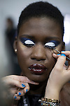 JOHANNESBURG, SOUTH AFRICA - MARCH 11: A model gets her make-up done backstage before a show at Johannesburg Fashion Week week on March 11, 2016, at Nelson Mandela Square Johannesburg, South Africa. (Photo by: Per-Anders Pettersson)
