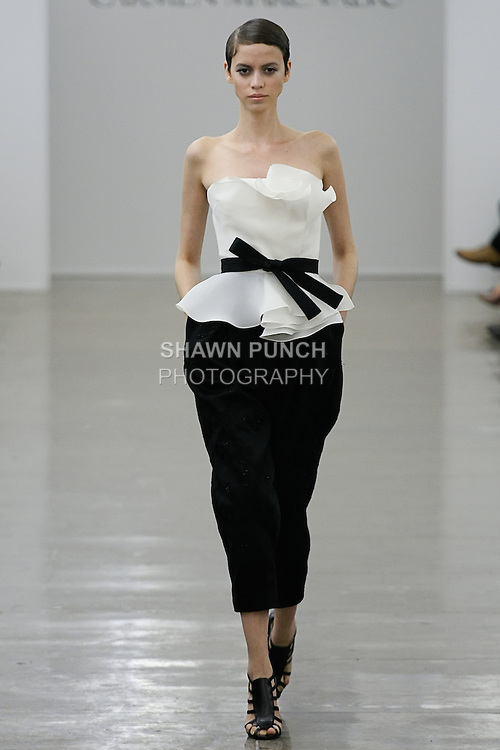 Amanda walks runway in an outfit from the Carmen Marc Valvo Spring 2013 collection fashion show, during Mercedes-Benz Fashion Week Spring 2013.