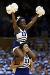 15 November 2014: Duke cheerleaders. The Duke University Blue Devils hosted the Fairfield University Stags at Cameron Indoor Stadium in Durham, North Carolina in an NCAA Men's Basketball exhibition game. Duke won the game 109-59.