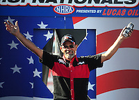 Sept. 6, 2010; Clermont, IN, USA; NHRA pro stock motorcycle rider Wesley Wells during driver introductions prior to the U.S. Nationals at O'Reilly Raceway Park at Indianapolis. Mandatory Credit: Mark J. Rebilas-