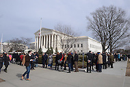 Washington, DC - February 19, 2016: Hundreds of people line up to pay respects to the late Associate Justice Antonin Scalia as his body lay in repose inside the Great Hall of the Supreme Court in the District of Columbia, February 19, 2016.   (Photo by Don Baxter/Media Images International)