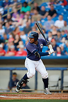 Lake County Captains designated hitter Emmanuel Tapia (28) at bat during the second game of a doubleheader against the West Michigan Whitecaps on August 6, 2017 at Classic Park in Eastlake, Ohio.  West Michigan defeated Lake County 9-0.  (Mike Janes/Four Seam Images)