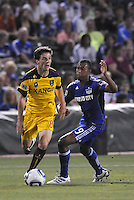 Will Johnson (yellow), Teal Bunbury...Kansas City Wizards and Real Salt Lake played to a 1-1 tie at Community America Ballpark, Kansas City, Kansas.
