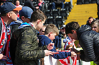 Lincoln City manager Danny Cowley signs an autograph for a fan during the pre-match warm-up<br /> <br /> Photographer Chris Vaughan/CameraSport<br /> <br /> The EFL Sky Bet League Two - Lincoln City v Cheltenham Town - Saturday 13th April 2019 - Sincil Bank - Lincoln<br /> <br /> World Copyright © 2019 CameraSport. All rights reserved. 43 Linden Ave. Countesthorpe. Leicester. England. LE8 5PG - Tel: +44 (0) 116 277 4147 - admin@camerasport.com - www.camerasport.com