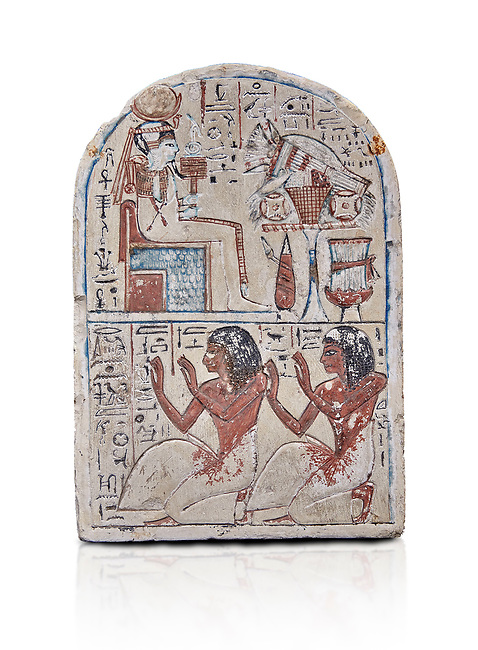 """Ancient Egyptian Ra stele , limestone, New Kingdom, 19th Dynasty, (1279-1190 BC), Deir el-Medina,  Egyptian Museum, Turin. white background, <br /> <br /> Khonsu sits on a cube-like throne and wears the solar disc and half-moon on his head. He faces an offering table piled with food and flowers. The hieroglyphic inscription reads: """"Khonsu-in-Thebes, Neferhotep. Protection, life, stability and power surround him, like Ra. Libation for your ka with bread, beer, oxen and fowl.""""Lower register depicts two men kneeling in adoration. They face to the left: Nebre, whose title is kedw sesh """"draughtsman"""" and his son, Amenemope.""""Give praise to Khonsu-in-Thebes by the scribe of Amun in the Place of Truth Nebra, justified in peace, he loved his son, Amenemope, justified"""".In the bottom register are the """"Draughtsman-scribe of Amun in the Place of Truth"""", Nebre, and his son, Amenemope""""<br /> <br /> Akh iqer en Ra """" the excellent spirit of Ra' stele.One of three stele forund in different rooms of houses in Deir el-Medina where they stood in niches"""