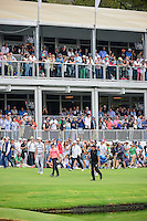 Phil Mickelson (USA) acknowledges the large crowd on 17 as he, Rory McIlroy (IRL), and Ross Fisher (ENG) approach the green during round 3 of the World Golf Championships, Mexico, Club De Golf Chapultepec, Mexico City, Mexico. 3/4/2017.<br /> Picture: Golffile | Ken Murray<br /> <br /> <br /> All photo usage must carry mandatory copyright credit (&copy; Golffile | Ken Murray)