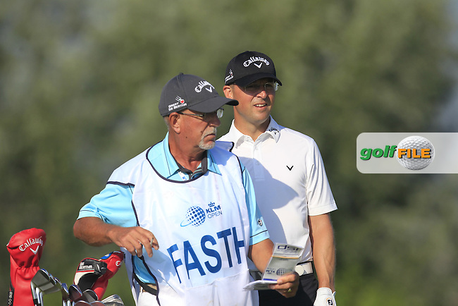 Niclas Fasth (SWE) and his caddy Pete on the 4th tee during Round 1 of the 2016 KLM Open at the Dutch Golf Club at Spijk in The Netherlands on Thursday 08/09/16.<br /> Picture: Thos Caffrey | Golffile