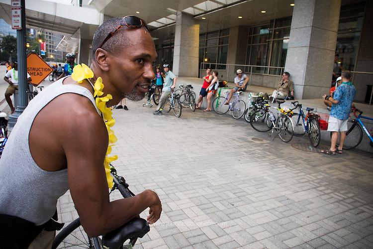 Aaron Mottley dressed in lei is set for Bicycle Space's luau ride to Kingman Island in Washington DC.