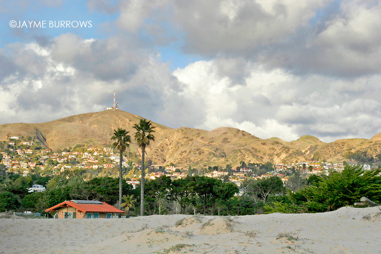 A view of the Ventura, Calif. hillside from the beach.