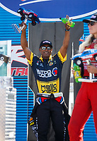 Sep 2, 2017; Clermont, IN, USA; NHRA top fuel driver Antron Brown during qualifying for the US Nationals at Lucas Oil Raceway. Mandatory Credit: Mark J. Rebilas-USA TODAY Sports