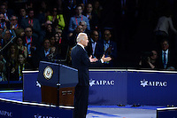 Washington, DC - March 20, 2016: U.S. Vice President Joe Biden acknowledges applause after addressing attendees of the AIPAC Policy Conference at the Verizon Center in the District of Columbia, March 20, 2016. AIPAC is engaged in promoting and protecting the U.S.-Israel relationship to enhance security for both countries. (Photo by Don Baxter/Media Images International)
