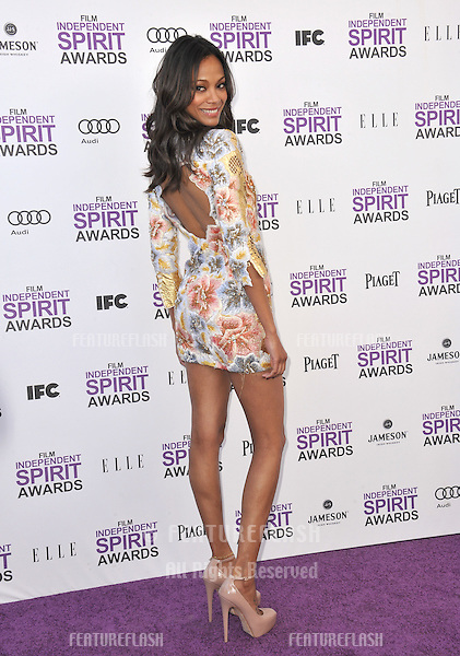 Zoe Saldana at the 2012 Film Independent Spirit Awards on the beach in Santa Monica, CA..February 25, 2012  Santa Monica, CA.Picture: Paul Smith / Featureflash