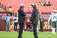 Landover, MD - August 16, 2018: New York Jets head coach Todd Bowles talks to Doc Walker before the preseason game between New York Jets and Washington Redskins at FedEx Field in Landover, MD.   (Photo by Elliott Brown/Media Images International)