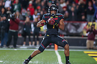 College Park, MD - October 22, 2016: Maryland Terrapins wide receiver D.J. Moore (1) catches a touchdown pass during game between Michigan St. and Maryland at  Capital One Field at Maryland Stadium in College Park, MD.  (Photo by Elliott Brown/Media Images International)