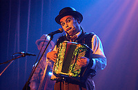 June 15, 2002  Photo, Montreal, Quebec, Canada; <br /> <br /> The Tiger Lillies, play the Cabaret Music Hall, July 15 to 21, 2002, during the Just For Laugh Comedy Festival, in Montreal, Canada.<br /> <br /> One of the most acclaimed and caustic act from the London (UK) counter-culture. they perform  jazz to folk music on irrevent theme such as drugd, prostitution and bestiality in a cabaret style  reminescent of Paris left- bank and of German Old-Style<br /> <br /> (Mandatory Credit: Photo by Sevy - Images Distribution (©) Copyright 2002 by Sevy<br /> <br /> NOTE :  D-1 H original JPEG, saved as Adobe 1998 RGB.<br />  Uncompressed and uncropped original  size file available on request.
