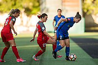 Seattle, WA - Saturday, July 1, 2017:  Christine Nairn and Hayley Raso during a regular season National Women's Soccer League (NWSL) match between the Seattle Reign FC and the Portland Thorns FC at Memorial Stadium.