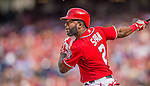 15 September 2013: Washington Nationals outfielder Denard Span in action against the Philadelphia Phillies at Nationals Park in Washington, DC. The Nationals took the rubber match of their 3-game series 11-2 to keep their wildcard postseason hopes alive. Mandatory Credit: Ed Wolfstein Photo *** RAW (NEF) Image File Available ***