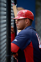 GCL Nationals catcher Wilmer Perez (14) in the dugout during a game against the GCL Astros on August 6, 2018 at FITTEAM Ballpark of the Palm Beaches in West Palm Beach, Florida.  GCL Astros defeated GCL Nationals 3-0.  (Mike Janes/Four Seam Images)