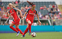 Portland, OR - Saturday April 29, 2017: Nadia Nadim, Celeste Boureille during a regular season National Women's Soccer League (NWSL) match between the Portland Thorns FC and the Chicago Red Stars at Providence Park.