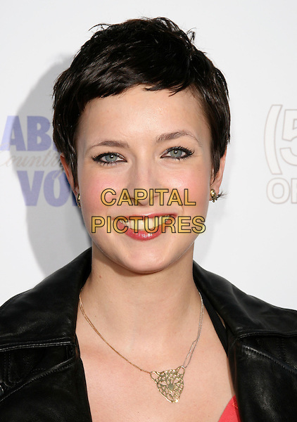 """DIABLO CODY.The Fox Searchlight L.A. Premiere of """"(500) Days of Summer"""" held at The Egyptian Theatre Theatre in Hollywood, California, USA. .June 24th, 2009.headshot portrait gold necklace black leather .CAP/DVS.©Debbie VanStory/Capital Pictures."""