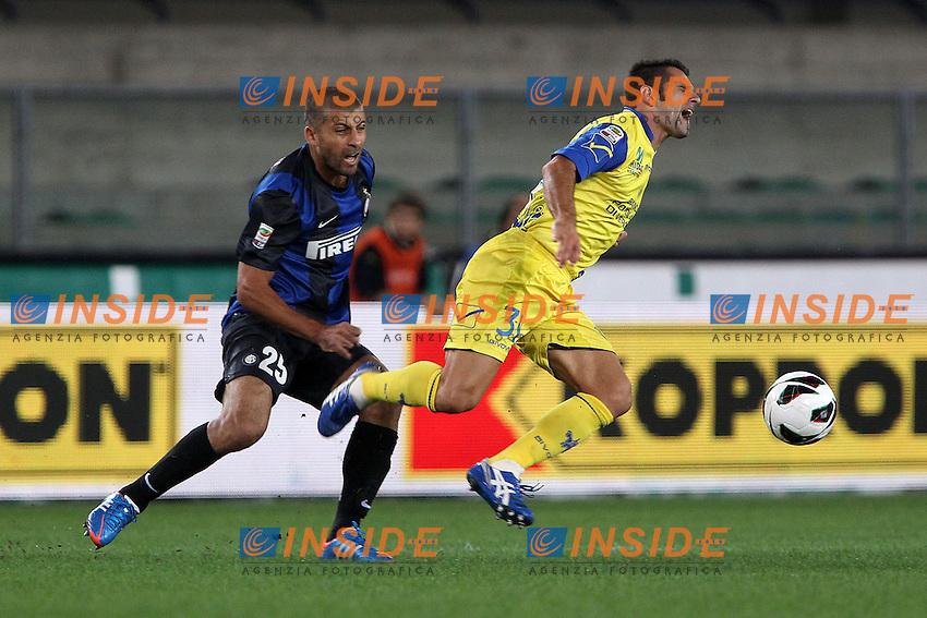 "Walter Samuel Inter Sergio Pellissier Chievo.Verona 26/09/2012 Stadio ""Bentegodi"".Football Calcio Serie A 2012/13.Chievo v Inter.Foto Insidefoto Paolo Nucci."