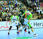 09.06.2019, Max Schmeling Halle, Berlin, GER, DHB,  1.HBL,  FUECHSE BERLIN VS. HSG Wetzlar,<br /> DHB regulations prohibit any use of photographs as image sequences and/or quasi-video<br /> im Bild Paul Drux (Fuechse Berlin #95), Olle Forsell Schefvert (HSG Wetzlar #25)<br /> <br />      <br /> Foto © nordphoto / Engler