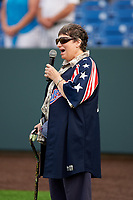 Auburn Doubledays national anthem performance before a NY-Penn League game against the Connecticut Tigers on July 12, 2019 at Falcon Park in Auburn, New York.  Auburn defeated Connecticut 7-5.  (Mike Janes/Four Seam Images)