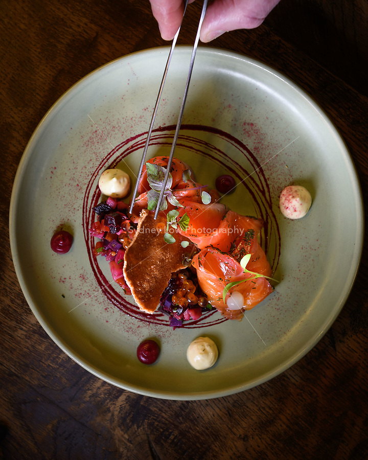 Melbourne, 2 June 2018 - Philippe Mouchel plating up a dish with Ora King Salmon at his restaurant. Photo Sydney Low