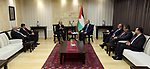 Palestinian Prime Minister Rami Hamdallah meets with a delegation from the Islamic Development Bank, in the West Bank city of Ramallah on Aug. 08, 2018. Photo by Prime Minister Office