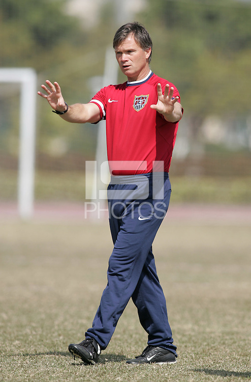 January 29, 2007: USA head coach Greg Ryan at a Four Nations Cup practice.