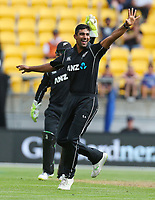 Blackcaps Ish Sodhi snares another wicket during the third ODI cricket match between the Blackcaps & England at Westpac stadium, Wellington. 3rd March 2018. © Copyright Photo: Grant Down / www.photosport.nz