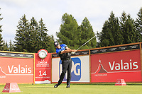 Scott Hend (AUS) tees off the 14th tee during Sunday's Final Round of the 2017 Omega European Masters held at Golf Club Crans-Sur-Sierre, Crans Montana, Switzerland. 10th September 2017.<br /> Picture: Eoin Clarke | Golffile<br /> <br /> <br /> All photos usage must carry mandatory copyright credit (&copy; Golffile | Eoin Clarke)