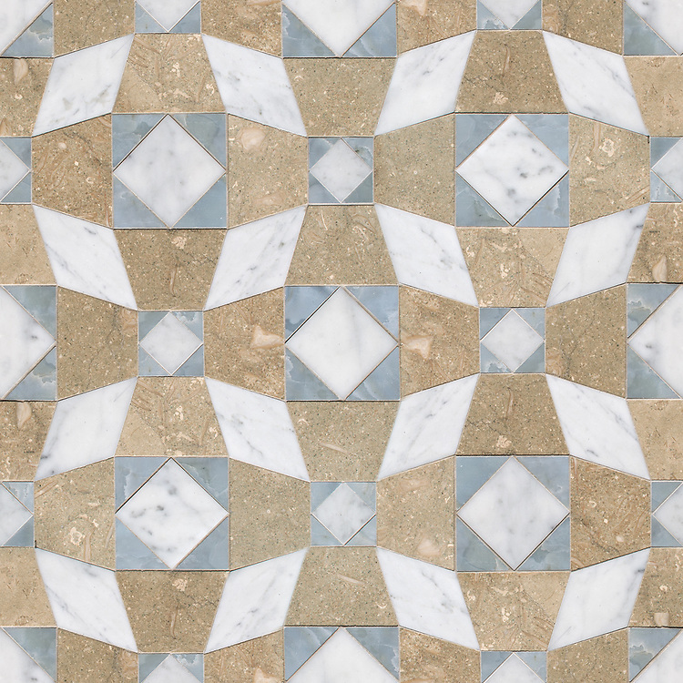 Estrella, a hand-cut mosaic, shown in honed Seagrass, polished Pacifica, and honed Carrara, is part of the Illusions Collection by Paul Schatz for New Ravenna.