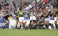 South African scrum half Francois Hougaard gets his pass away during the U19 Championship final against New Zealand at Ravenhill, Belfast.