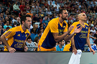 Herbalife Gran Canaria's player Pablo Aguilar and Albert Oliver during the match of the semifinals of Supercopa of La Liga Endesa Madrid. September 23, Spain. 2016. (ALTERPHOTOS/BorjaB.Hojas)