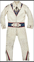 BNPS.co.uk (01202 558833)<br /> Pic: HeritageAuctions/BNPS<br /> <br /> Daredevil Evel Knievel's iconic star-spangled jumpsuit in which he attempted many death-defying stunts is tipped to sell for more than &pound;60,000.<br /> <br /> Between 1965 and 1977, Knievel attempted 175 ramp-to-ramp motorcycle jumps and an unsuccessful crossing of the Snake River Canyon in Idaho in a steam-powered rocket. <br /> <br /> Now, 10 years after Knievel's death, his family have decided to put some of his most iconic items up for auction.<br /> <br /> The jumpsuit Knievel wore in 1972 and 1973 is valued at &pound;63,000 while his famous diamond-studded walking stick is tipped to sell for &pound;13,500.