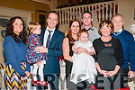 Baby Caireann O'Flaherty who was christened at Moyvane Church on the 30th December  by Fr. Kevin Mcnamara and afterwards at the Listowel Arms Hotel. L-R : Kim Barrett, Ellie Mae & Owen O'Flaherty, Maggie & Caireann O'Flaherty, Aidan Keanr & Anne & Thomas Keane.