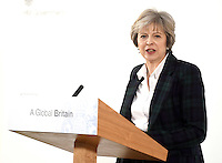17 January 2017 - London, England - Theresa May delivers a key Brexit speech at Lancaster House, London about Britain and the EU. The widely leaked speech set out the Prime Minister's intention to prioritise control on immigration and an exit from the Court of Justice of the European Union. Photo Credit: ALPR/AdMedia