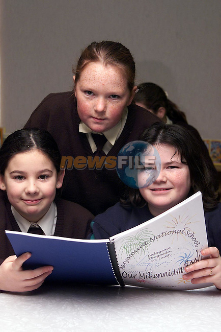 Edel McAuley, Louise Farrelly and Emma Kirwin at the lauch of Marymount National School's Millenium Book..Picture Paul Mohan Newsfile
