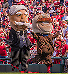 28 September 2014: Washington Nationals Racing President Mascot Teddy Roosevelt (right) edges out President William Howard Taft to win the race between innings of a game between the Miami Marlins and the Washington Nationals at Nationals Park in Washington, DC. The Nationals shut out the Marlins with a 1-0 no-hitter going to Nationals pitcher Jordan Zimmermann in the last game of the regular season. Mandatory Credit: Ed Wolfstein Photo *** RAW (NEF) Image File Available ***