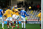 Motherwell v St Johnstone&hellip;20.10.18&hellip;   Fir Park    SPFL<br />Jason Kerr heads in the goal that wins the game<br />Picture by Graeme Hart. <br />Copyright Perthshire Picture Agency<br />Tel: 01738 623350  Mobile: 07990 594431